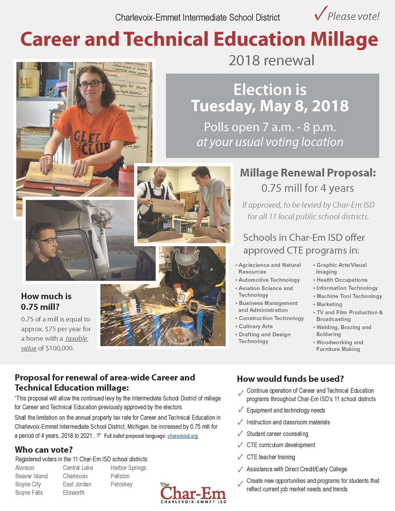 Career and Technical Education Millage Renewal Election set for May 8, 2018