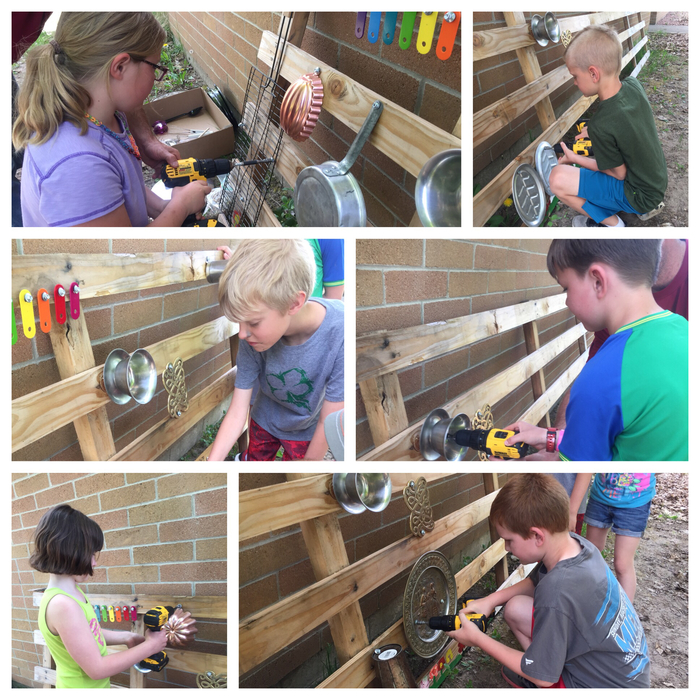 students building musical garden
